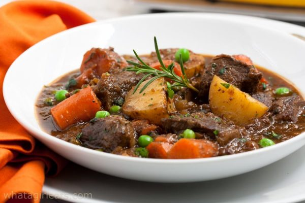 The traditional Guinness stew is set apart from others because it is made with an Irish stout. The meal is rounded out with mashed potatoes and seasonal veggies.