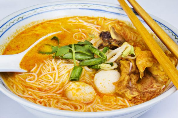 Seafood Curry Laksa with Yellow Noodles