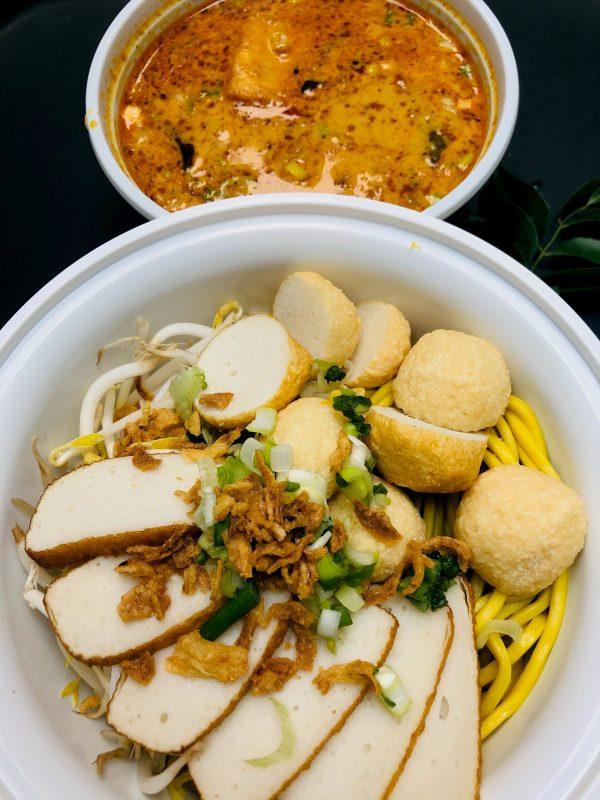 Fishball, Beef Ball, OR Pork Ball Laksa with Yellow Noodles